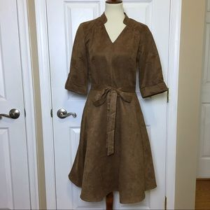 SHARAGANO Brown Faux Suede Belted ALine Dress